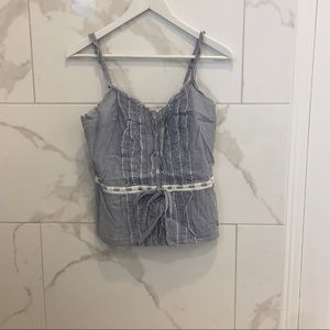 Abercrombie & Finch   White & Blue Striped Top